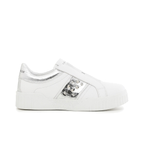 Leather slip-on shoes with maxi rhinestones