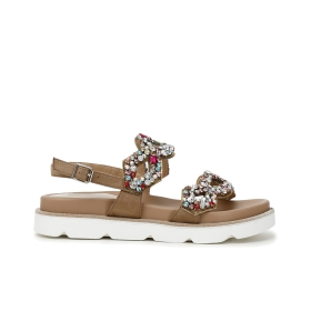 Jewel leather thong sandals with flowers