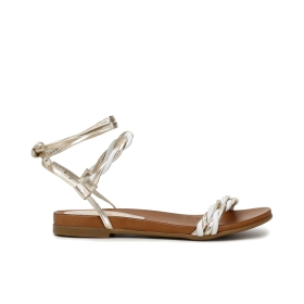 Sandals with leather wedge and braided straps