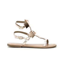 Gladiator strap sandal, with a mix of studs and rhinestones, on a high wedge in raffia and a mix of rhinestones