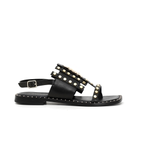 Flat leather sandals with perforations and drawstring