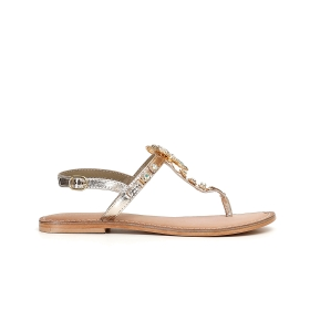 Special Price: Leather flip-flops with dragonfly accessory