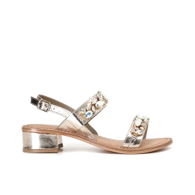 Special Price: Leather sandals with two straps and rhinestones