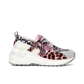 Animal print lace-up sneakers