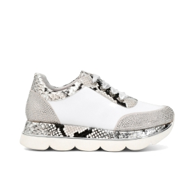 Leather sneakers with python detail in faux leather and rhinestones