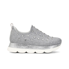Faux leather slip-on shoes with rhinestones
