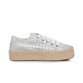 Faux patent leather perforated sneakers