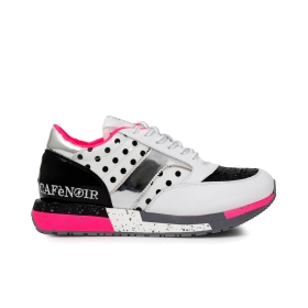 Faux leather and PVC sneakers with polka dot motif