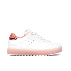 Faux leather sneakers with python coloured spur