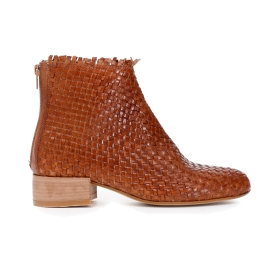 Woven calfskin ankle boots