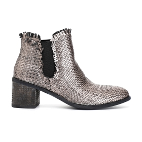 Woven patent ankle boots