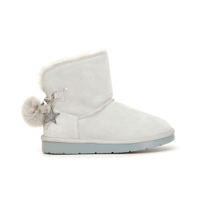 Suede ankle boots with pompoms