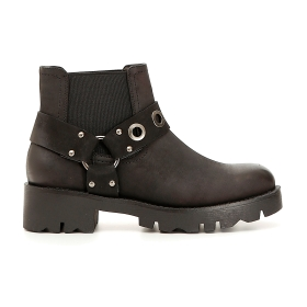 Imitation nubuck Chelsea boots with ankle strap