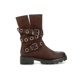 Imitation nubuck boots with double buckle