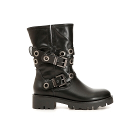 Imitation leather boots with double buckle