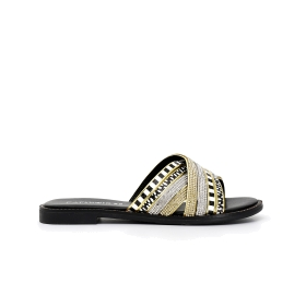 Slip-on sandals with crossover strap with rhinestones in multi-colour ethnic style