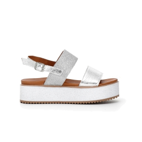 Patent leather and Lurex stretch fabric Jesus sandals with maxi soles