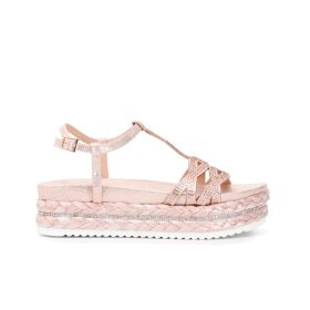 T-bar sandals with mini rhinestones and woven maxi sole