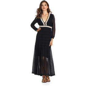 Long lace dress with deep V-neck