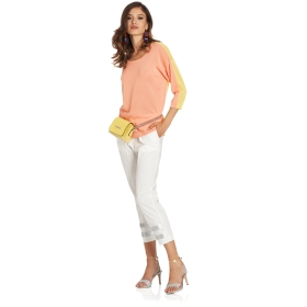 3/4 sleeve two-tone top