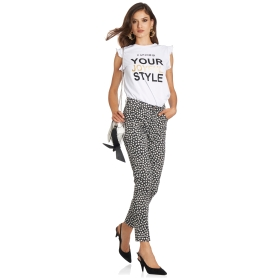 Skinny-fit five pocket printed trousers