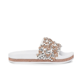 Slip-on shoes with large sequin strap