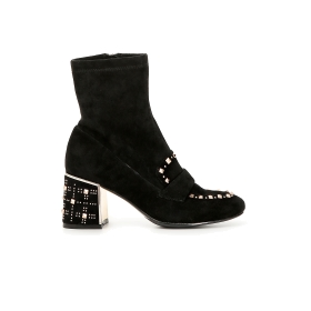Elasticated studded ankle boots