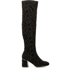 Elasticated boots in animalier fabric