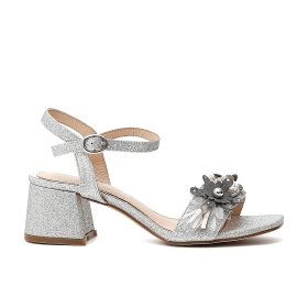 Glitter sandals with flowers