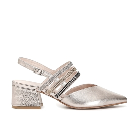 Shoes with strap and rhinestone bands