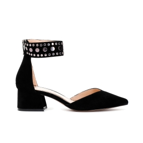 Suede shoe with studded ankle strap