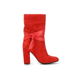 Split leather ankle boots boots with tasselled strap