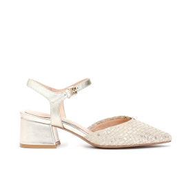 Suede patent woven Gilda heeled shoe