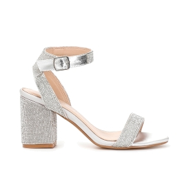 Patent rhinestone sandals with ankle strap