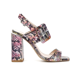 High heel sandals with python print leather tongue