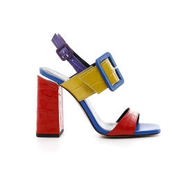 High heel Jesus sandals with large multi-colour crock print leather buckle
