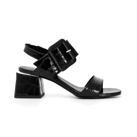 Crock print leather Jesus sandals with large buckle and heel
