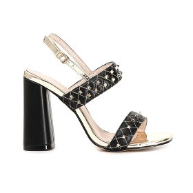 Studded quilted-effect sandals