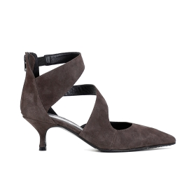 ASYMMETRICAL SUEDE PUMPS WITH DOUBLE BAND AND LOW HEEL
