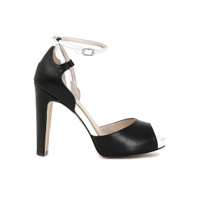 Sandals with contoured heel and strap