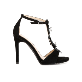 Suede T-bar sandals with floral accessories