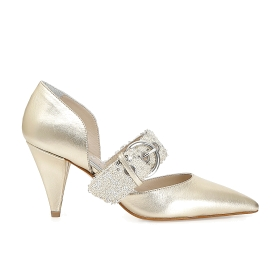 Patent leather shoes with sequin band
