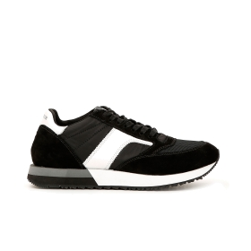 Trainers in fabric and split leather