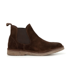 Split leather ankle boots with elastic panel