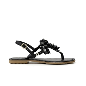 Wedge sandals, with straps with maxi rhinestones and ankle strap Black 35