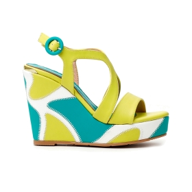 Ankle lace-up sandals in faux nappa with bow in front Yellow 38