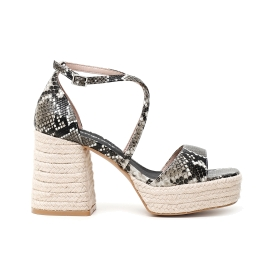 Heels with platform with woven rope and python print faux leather band Grey 38