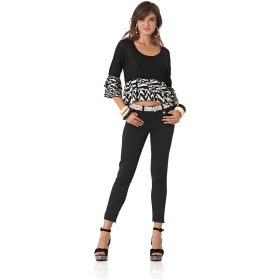 SEQUINNED BULL DENIM TROUSERS Black 38