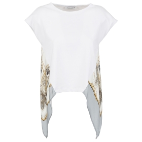 T-SHIRT WITH PRINTED INSERT Multicolor L