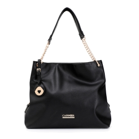 Tote bag with chain strap and pendant